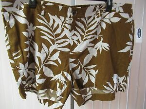 """""""Everyday Short"""" OLD NAVY Women's Shorts Brown Floral Linen Blend Size 26 P NWT"""
