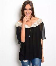 Boho Black Chiffon White Crochet Peasant Flowy Flutter Sleeve Top Blouse Small