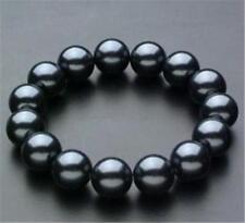 """Wonderful South 10mm Black Sea Shell Pearl Bracelet AAA 7.5"""""""