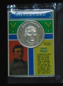 HONUS WAGNER PIRATES .999 FINE SILVER COIN 1992 MONEY COMPANY CARD ROUND 1/5000