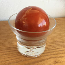 Bill Blass Home Decor Blown Glass Candle Holder w/ Ball Shaped Candle