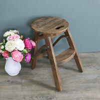 marrone in legno stile vintage sgabello gradino casa shabby chic mobili cucina