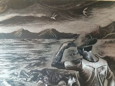 I. Randle Scratchboard of Dramatic Seascape Signed Artwork in Frame