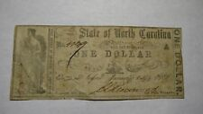 $1 1861 Raleigh North Carolina Obsolete Currency Bank Note Bill State of NC!