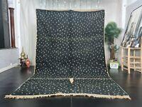 """Boujad Handmade Moroccan Vintage Rug 6'4""""x9'6"""" Berber Dotted Black Wool Carpet"""