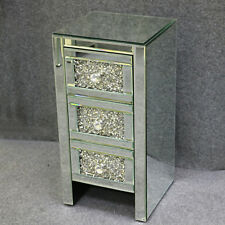 Diamante Crystal Nightstand Mirrored Bedside Tables Cabinet 3 Drawers Side Table