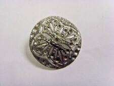 1800s antique filigree cutout metal cross motif meniscus disc button 49222
