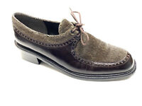 Stuart Weitzman Brown Oxford Shoes Womens Size 7.5 Leather with Tweed Lace Up
