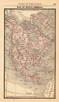 1888 Antique NORTH AMERICA Map Gallery Wall Art RARE Size MINIATURE 7937