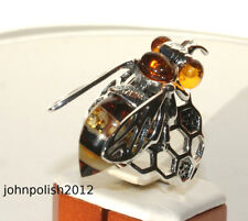 Baltic Amber and Silver Ring – Colourful Bee on Honey