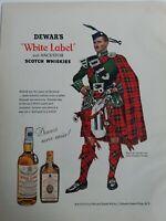 1956 Dewar's white label Scotch whiskey Piper Clan Wallace tartan original ad