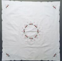 """Vintage Linen Tablecloth Table Topper Hand Embroidered Flowers 34""""x32"""""""