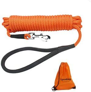Check Cord Long Dog Training Leash Tracking Line Heavy 30 feet x 3/8 in Orange