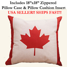 "18x18 18"" CANADA FLAG MAPLE LEAF PATRIOTIC Zippered Throw Pillow Case & Cushion"