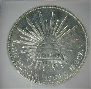 1908-Mo,AM Mexico Silver Peso ICG AU58 Details KM#409.2 Cleaned  (389)