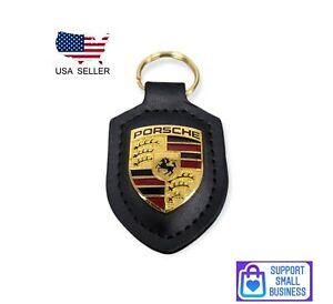 Black Porsche Leather Crest Key chain New