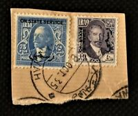 Rare INVERTED HISTORIC POSTMARK Iraq stamps King Ghazi OFFICIAL HABANIYAH 1935