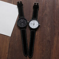 Men Women Sub-dial Analog Faux Leather Band Quartz Wrist Watch Couple Gift
