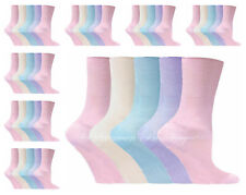 12 Pairs Ladies Non Elastic 100% Cotton loose Top Diebetic Socks Size 4-8 Mix