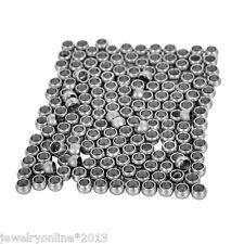 100 Edelstahl Beads Crimp Cover Perlen zum Basteln Silberfarbe 2mm