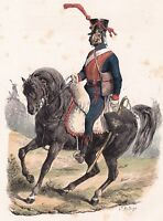 Gravure XIXe Artillerie à Cheval Napoléon Bonaparte Empire Uniforme 1840