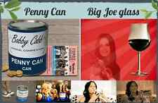Set of Penny Can by Bobby Cobb with rules and Big Joe glass from Cougar Town