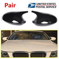 Pair Glossy Black Rear View Mirror Cap Cover Replacement For BMW E90 E91 E92 E93