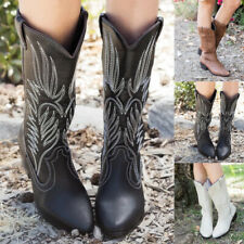 Women Cowboy Cowgirl Pointy Boots Mid Calf Pull On Low Block Heel Booties Shoes