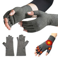 1Pair Anti Arthritis Copper Gloves Compression Fingerless Therapy Circulation