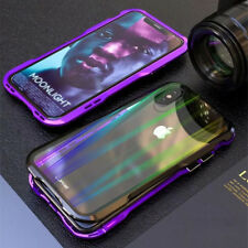For iPhone XS Max LUPHIE Double Color Magnetic Metal Bumper Case+Tempered Glass