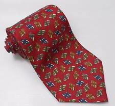 CHRISTIAN DIOR Mens Abstract Pattern Silk Necktie Tie Red Made in USA