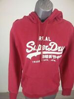 WOMENS SUPERDRY PINK WHITE LOGO LONG SLEEVE PULLOVER HOODIE JUMPER SWEATER TOP