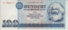 Germany, East banknote P31b-4831 100 Mark 1975 narrow numbers,  SCARCE, F-VF