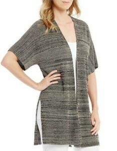Eileen Fisher Womens Sweater Classic Gray Size S/M Open Front Cardigan $298 400