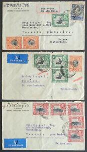KENYA - UGANDA - TANGANIYKA 1936: 3 Covers Moshi–Geneva, Switzerland