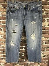 American Eagle Womans Boy Fit Cropped Blue Denim Jeans Size 4 Distressed