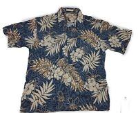CAMPIA MODA MENS BLUE & TAN FLORAL HAWAIIAN SHIRT. 100% RAYON, Size L