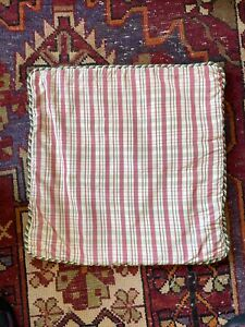 Scalamandre Plaid Taffeta Pillow Cover With Green And White Twisted Rope Cording