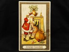 Antique Embossed Christmas Santa Red Suit Chimney Cannon Horse Ball Toy Postcard