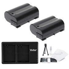2X EN-EL15 Replacement Battery & USB Dual Charger for Nikon D7000 D600 D800 1 V1