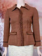 $1580 New ALBERTA FERRETTI Brown Textured Raw Edge Leather Weave Jacket 4 40