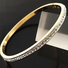 FSA097 GENUINE REAL 18K G/F GOLD SOLID DIAMOND SIMULATED CUFF BANGLE BRACELET