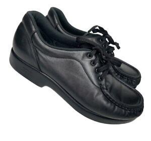 SAS womans Black Leather Lace Up Comfort  shoes Size 7.5M