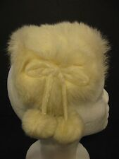 Vtg 50-60S Ladys Off White Rabbit Fur Headband Hat Wedding Theatrical Accessorie
