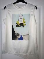 Zara W&B White Floral Print Sleeveless Blouse Top Asymmetric Back Size S BNWT