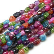 10 Mixed Colour Natural Crackle Chip Agate Dragon Vein Beads (BOX92)