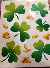 Saint Patricks Day Three Leaf Clovers Gold Coins Window Clings Shamrock Irish