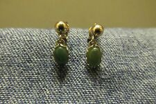 Signed 14K Yellow Gold Ball Stud Quality Jade Gemstone Dangle Post Earrings~Vtg