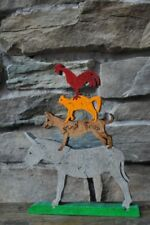 Town Musicians of Bremen Dog Cat Rooster Donkey Animal Puzzle Wooden Toy Hand
