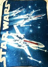 "Star Wars Plush Throw Blanket X-Wing Blue White Gray 46"" x 60"" Soft NEW Fighters"